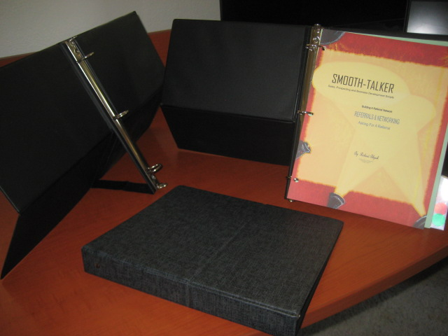 Stand-up Easel binder.